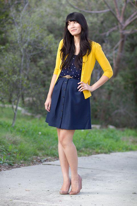 mustard and navy: Polka Dots, Fashion, Style, Polkadot, Cardigan, Outfit Posts, Navy