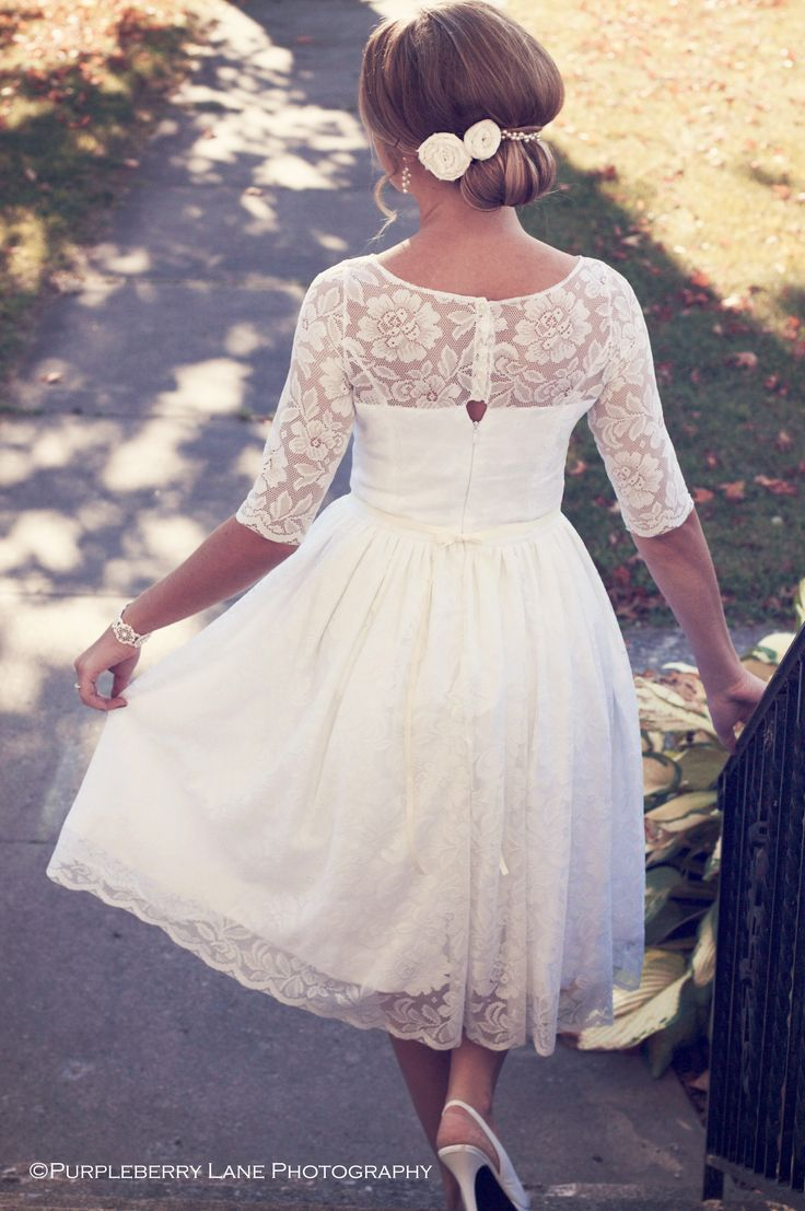 Not sure how you feel about the long sleeves, but this seems to be the length you are going for... the lace overlay is nice