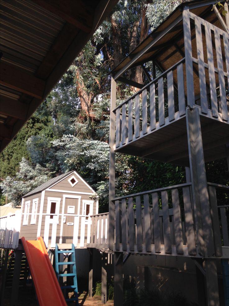 Tree House with Traffic Orange Slide