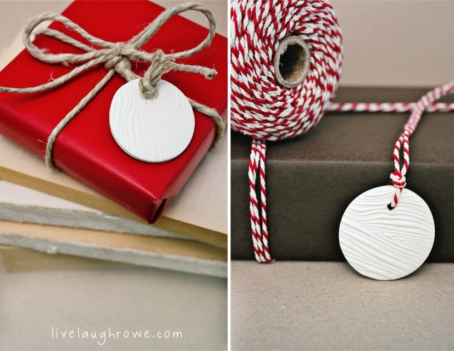 Woodgrain polymer clay gift tags.  So cute!