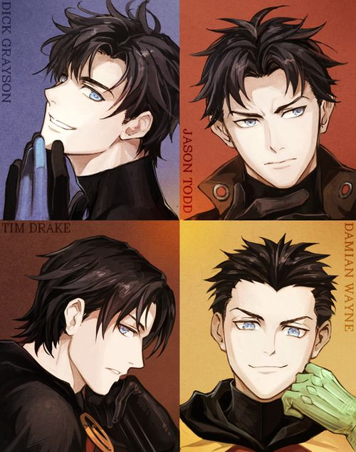 The Robins in Anime form. Love it! I LOVE THE ROBINS... Although Damian is actually pretty annoying...