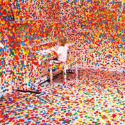 From Colossal. This is what happens when kids have stickers in a museum!: Color, Yayoikusama, Art, Yayoi Kusama, White Room, Kid, Rooms
