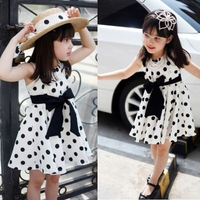 White Girl Kids pois bowknot manches princesse robes | cndirect.com