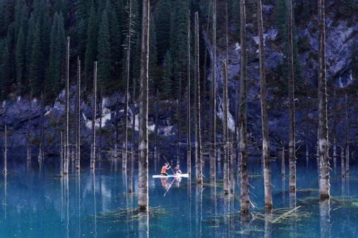 Lac Kaindy, formé il ya 100 ans au Kazakhstan à la suite du tremblement de terre dévastateur