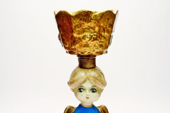 De Sela Paper Mache Praying Angel with Open Bowl Balanced Upon Her Head 1960's era Mexican Handmade Craft - Holiday New Year's Decoration