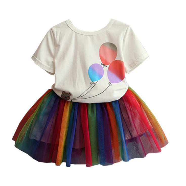 """Mud Kingdom Little Girls' Balloon Print T-shirt and Colorful Skirt Cute Outfit 2T. Bright Color. Adorable. Great Gift For Little Girl. Please Read """"Size Specification"""" In """"Product Description"""" To Make Sure The Size You Choose Fits As Expected. Mud Kingdom, A Reliable & Professional Manufacturer of Children's Clothing, Founded by Several Young People in 2012!."""