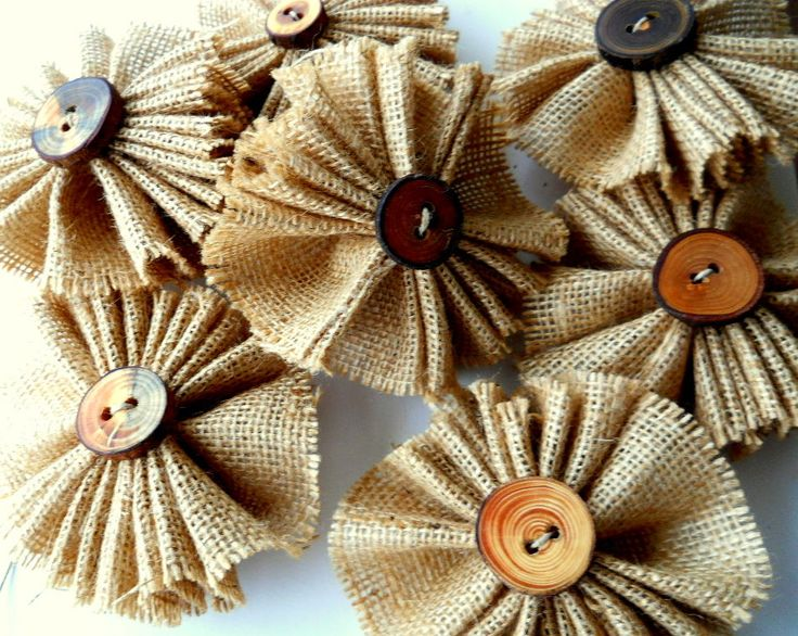 Burlap flowers on Etsy