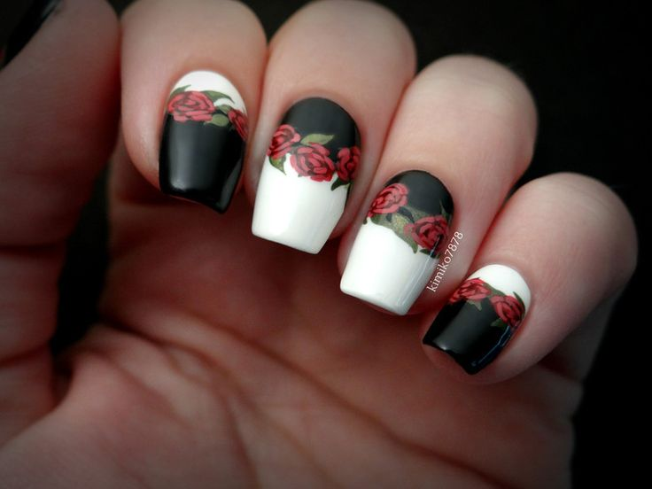 Nailpolis Museum of Nail Art | Black and White Roses (robin Moses Inspired) by Kim