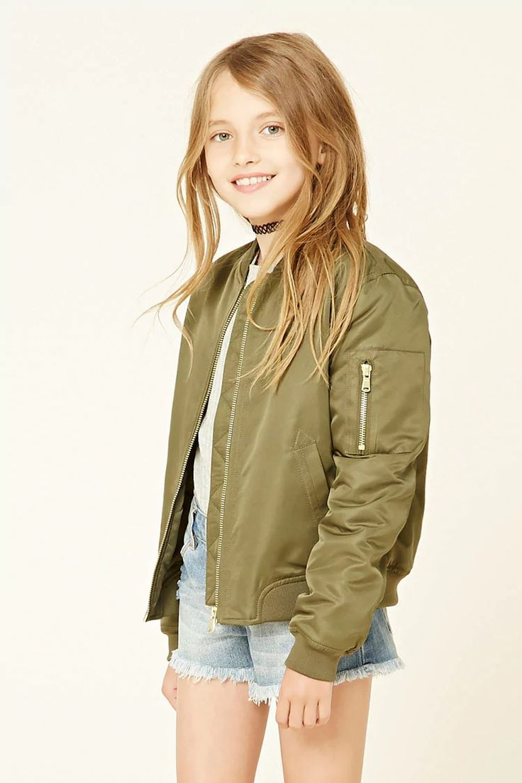 Forever 21 Girls - A lightly padded bomber jacket featuring long sleeves, two front slit pockets, a zipper front, a zippered pocket on the left sleeve, and an elasticized waist.
