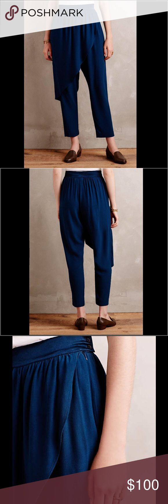 """Anthropologie Angelica Harem Pants The most unique pants you'll own! The granddaughter of an Italian tailor & daughter of an interior designer, Corey Lynn Calter was born to create. Experienced in opera houses, Broadway shows & New York's punk scene, her eponymous line is defined by prints, flattering cuts & punchy hues that are inspired by her vast & varied background. Harem silhouette and satin waistband and lined skirt flap. Side pockets and side zip and tabbed button closure. 27"""" inseam…"""
