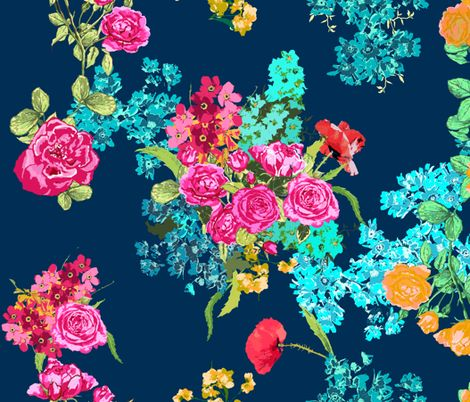 bouquet navy large fabric by katarina on Spoonflower
