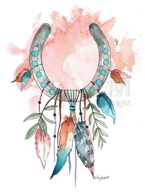 Horseshoe Dream Catcher #8 Watercolor painting, home décor, native american wall art, boho dreamcatcher, nursery décor, bohemian décor