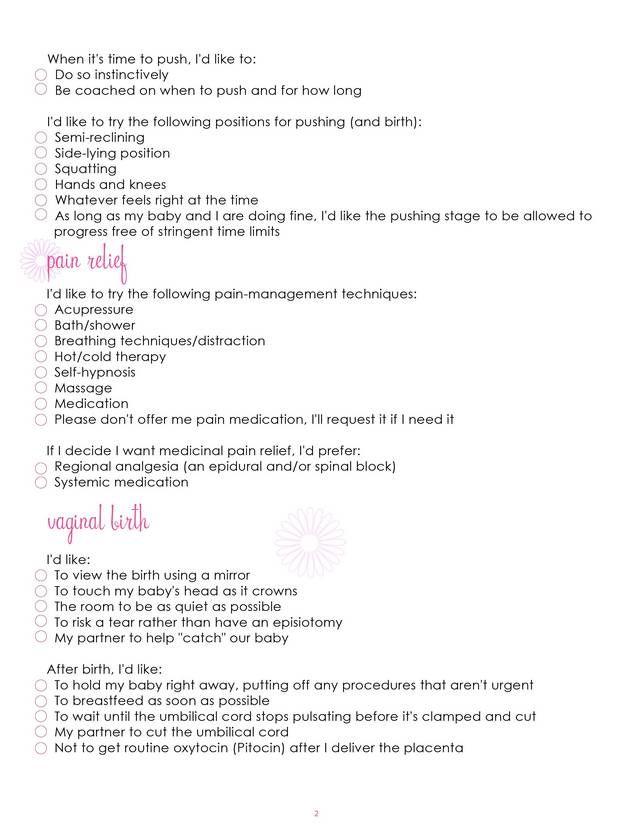birth plan worksheet word