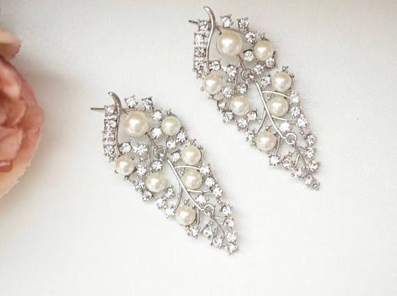Silver Leaf Earring Crystal Chandelier Wedding Bridal