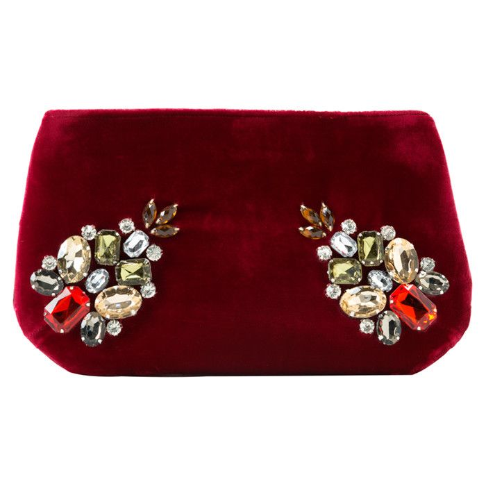 Paola Pouch in Scarlet Velvet - Jeweled