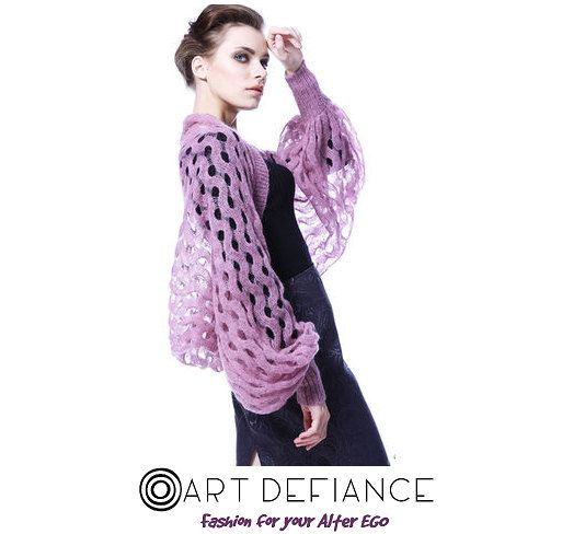 Designer Bolero-jacket light purple Italian mohair by ArtDefiance