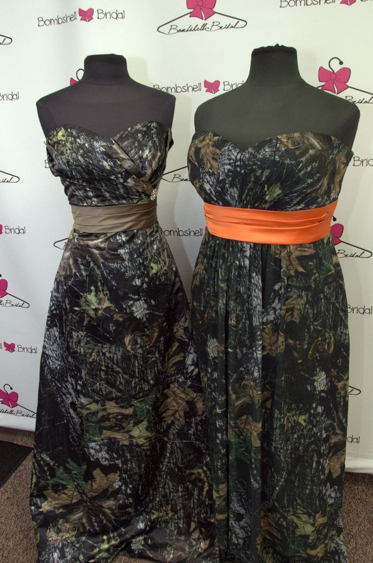 Mer enn 25 bra ideer om camo bridesmaid dresses p pinterest exclusive camo bridesmaid dresses woodsy camouflage with bright hunters orange sashesese ombrellifo Gallery