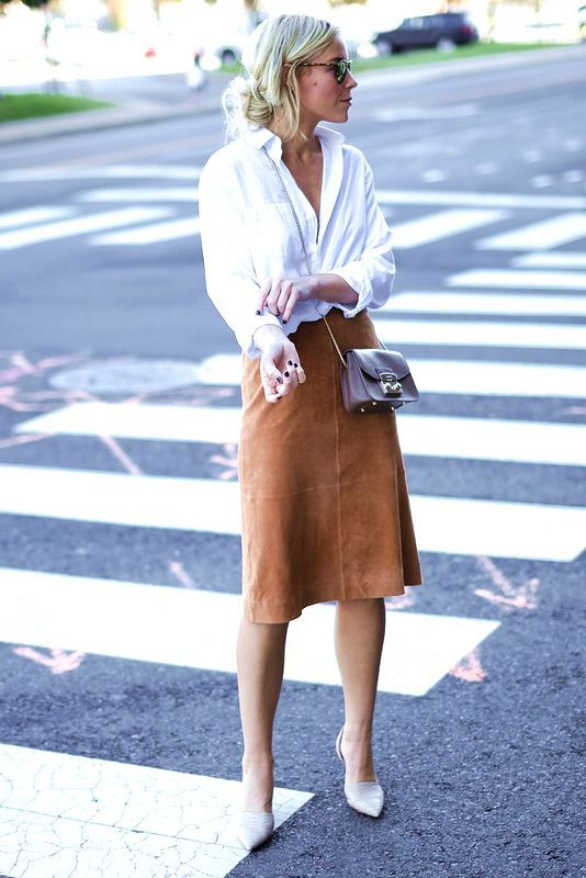 Tan skirt, white oxford shirt, nude pumps, leather crossbody, sunglasses, spring and summer outfit, work outfit