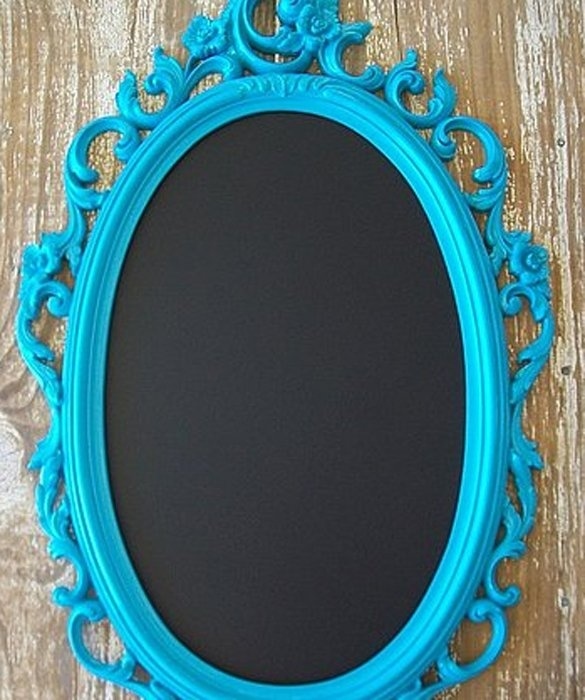 Repurpose an old mirror into a beautiful framed chalkboard for the nursery or kids' room.