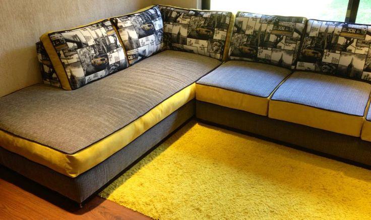 Sillón modular para restaurado y tapizado en tonos alegres, que otorgan vida a la sala de estar!!