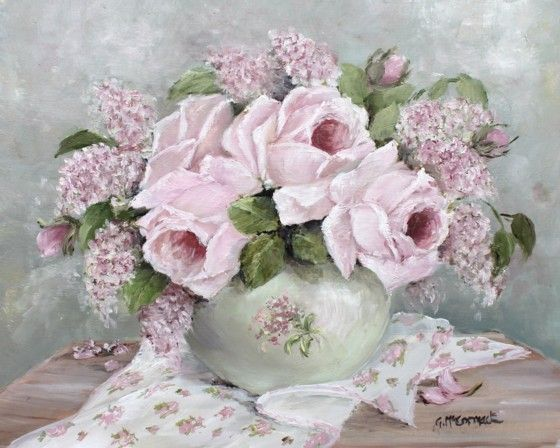 PRINT ON PAPER - Pink Roses & Lilacs - Postage included in the price World Wide