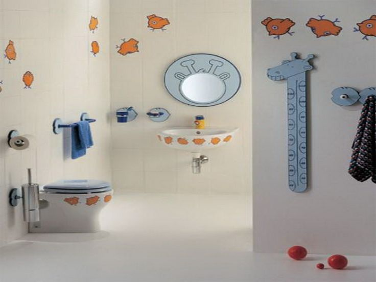 Excellent 10 Cute Kids Bathroom Decorating Ideas : Excellent 10 Cute Kids  Bathroom Decorating Ideas With White Wall Color Closet Blue Towel Mirror  Tissue ... Part 77