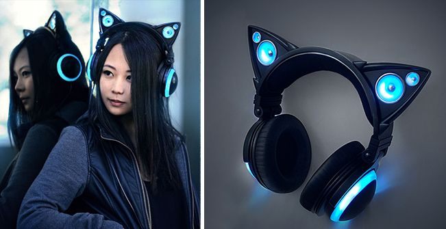 Possibly the cutest headphones ever!  Cat-ear-like design will turn you into a cat!