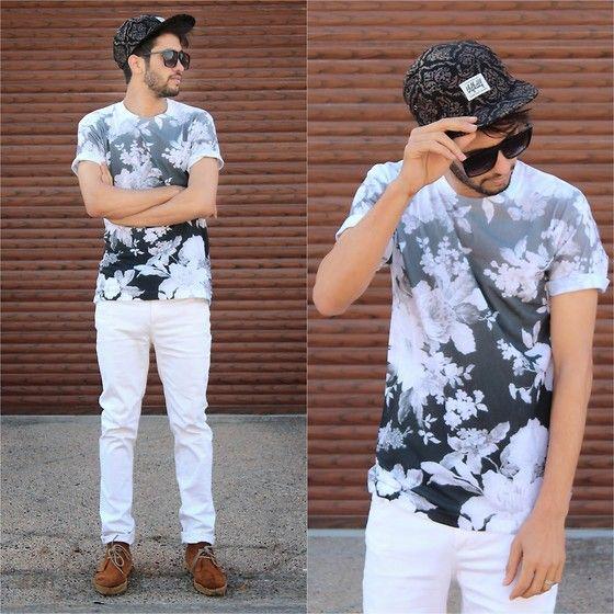 モノトーン花柄Tシャツ