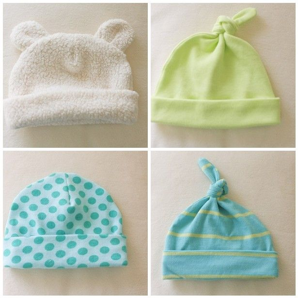 Free pattern and tutorial for the cutest little baby hats. Made by gail of probably actually.