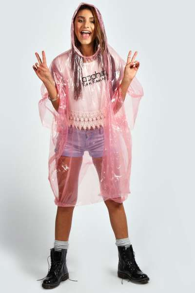 Disposable Showerproof Festival Poncho Non Refundable at boohoo.com