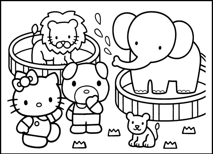 Hello Kitty Pirate Coloring Pages : Hello kitty in the zoo coloring pages doodlebugz wall