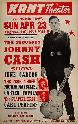 original 1967 johnny cash june carter krnt theater boxing style conce. Black Bedroom Furniture Sets. Home Design Ideas