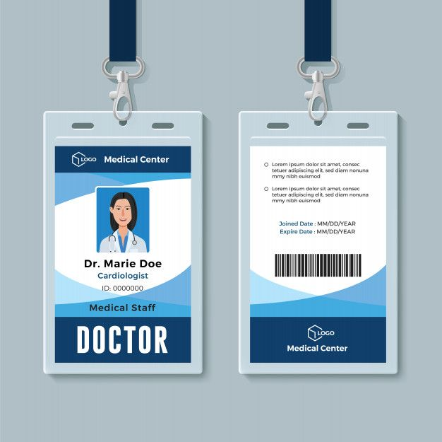 Doctor Id Badge Id Card Template Identity Card Design Card Design