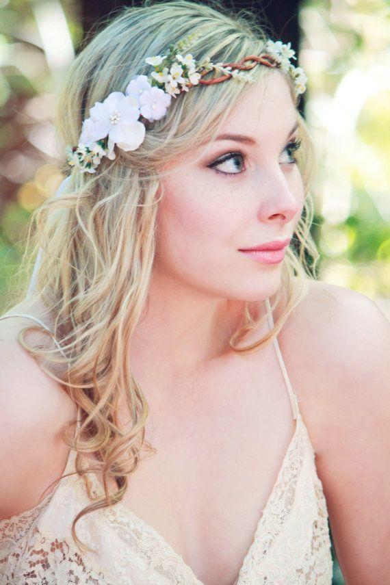 velvet flower, white floral wreath, wedding accessories, wedding headpiece,  Headband, head wreath, hair accessories, bridal, flower girl on Etsy, $320.00 HKD