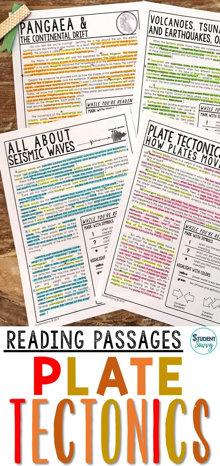 Plate Tectonics Worksheets Reading Comprehension Passages Questions And Annotations This Resource Is Desig Reading Passages Plate Tectonics Science Reading