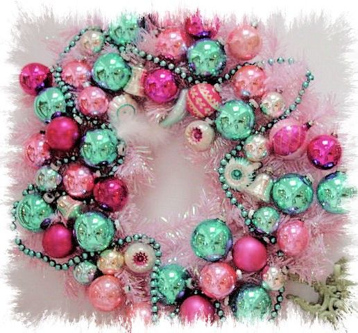 Gorgeous Vintage Pink Christmas Ornament Wreath by atticwear