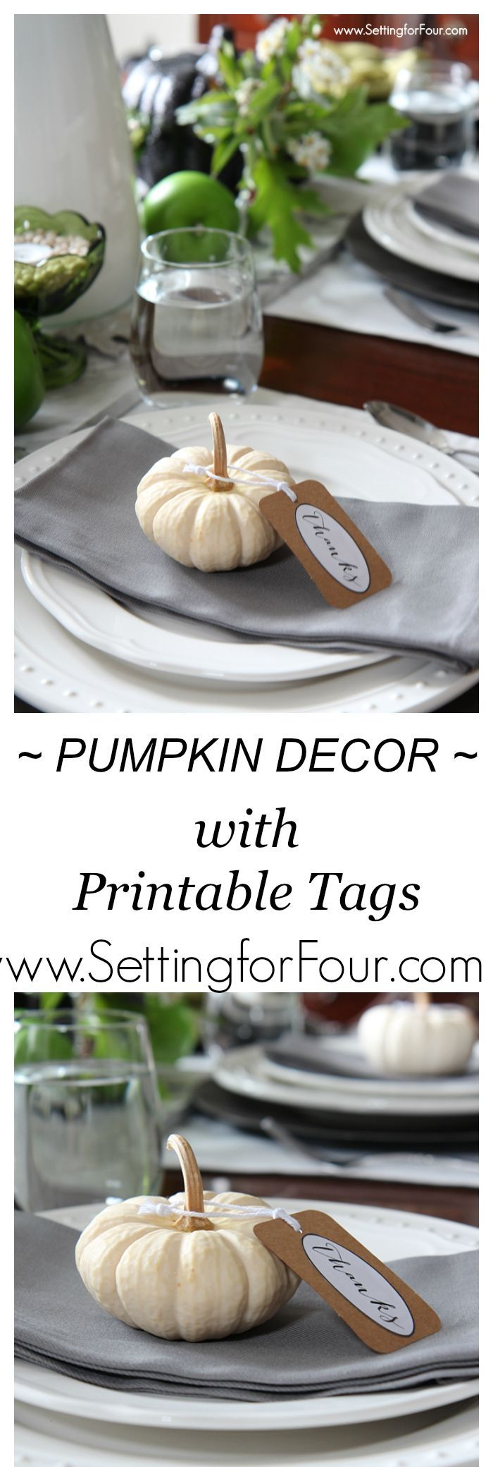 Easy Pumpkin Decor with Printable Tags 208