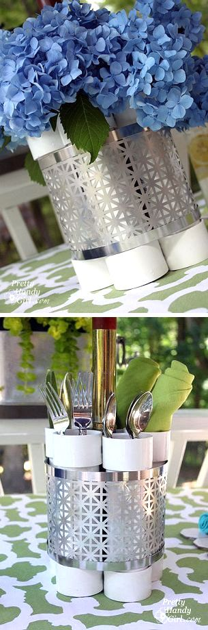 Radiator screen and PVC pipes make an inexpensive yet beautiful and centerpiece.