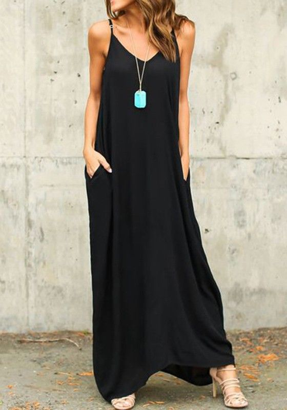 Vestido largo algodón liso irregular v-cuello ocasional negro