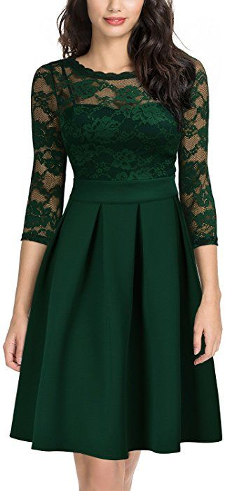 54b55617269c Amazon.com: Miusol Women's Vintage Floral Lace 2/3 Sleeve Cocktail Party  Swing Dress, Dark Green, Small: Clothing