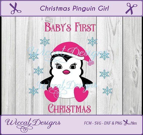 Christmas baby svg penguin svg Girl svg Pink penguin svg