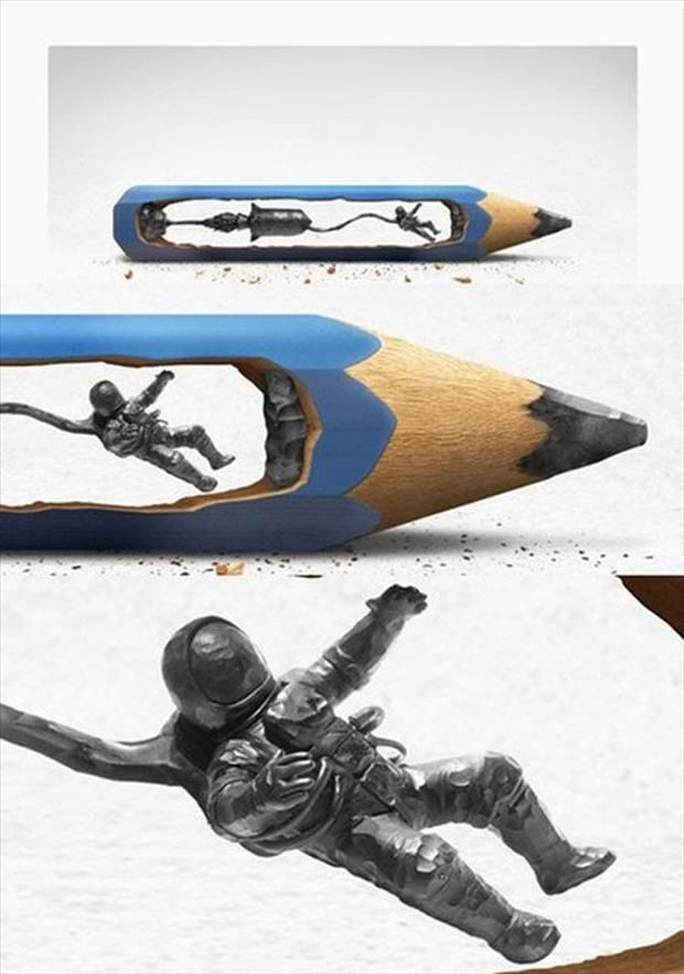 STRANGE MICRO ART - AMAZING DETAILED MAN IN NASA SPACESUIT ON A TETHERED SPACE WALK CARVED FROM THE LEAD INSIDE A PENCIL!