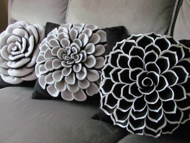 Decorative Pillow Felt Flower Pillow Pattern SOPHIA FLOWER Fabric Flower Pattern with 2 Bonus ...