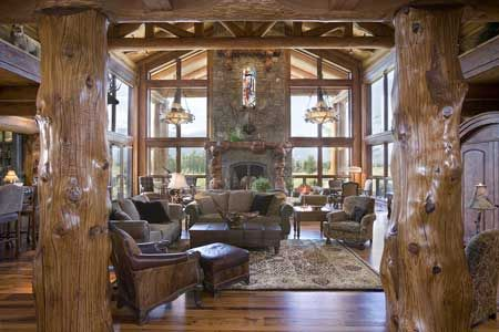 Precision Craft Log Homes and Timber Frame Homes: Log Homes, Trees Trunks, Living Rooms, Window, Interiors Design, Great Rooms, Logs House, Logs Home, Logs Cabin