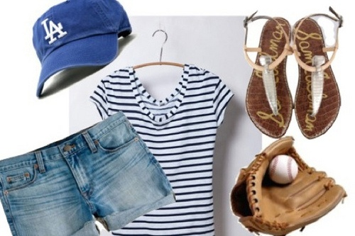 Dodgers Baseball Game Day Outfit For Women- going to my 1st ever baseball game today. It's gonna be freaking HOT.