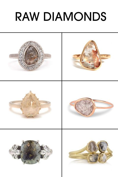 Raw diamonds make for a truly unique and slightly ethereal spin on a classic. (No two stones are alike). Shop the style and 50+ alternative engagement rings.