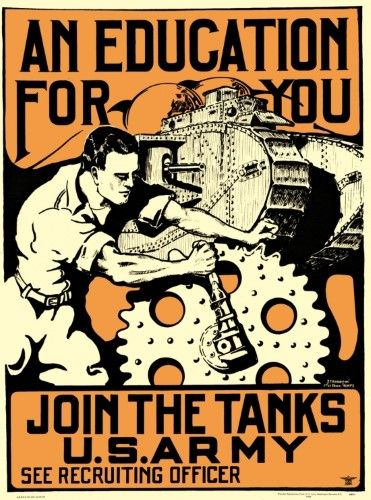 art print~JOIN THE TANKS~vintage military poster~army