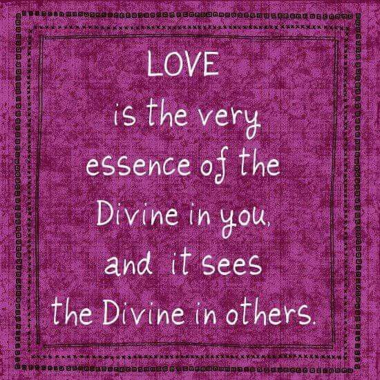 Love is the the very essence of the Divine in you and it sees the Divine in others.