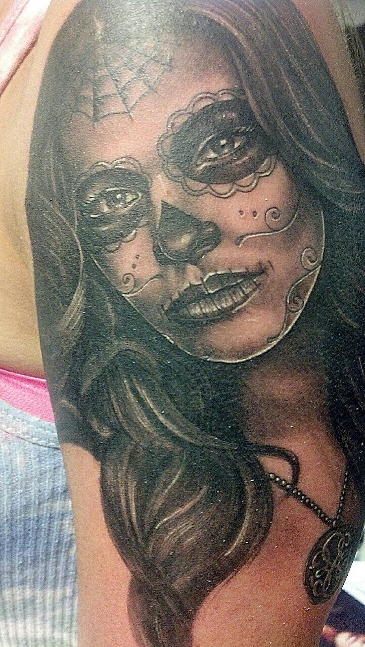 day of the dead tattoo by steven tefft sugar n spice pinterest. Black Bedroom Furniture Sets. Home Design Ideas