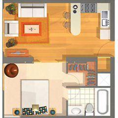 Los planos de son de una cabaña monoambiente de 21 metros cuadrados. Un diseño perfecto para alguien que quiere invertir con casas para alquilar.